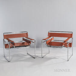Two Marcel Breuer (Hungarian/American, 1902-1981) by Cassina Wassily Chairs