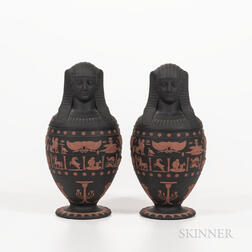 Pair of Modern Wedgwood Solid Black Jasper Canopic Jars and Covers