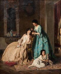 Lambert Linder (German, 1841-1889)      A Quiet Afternoon