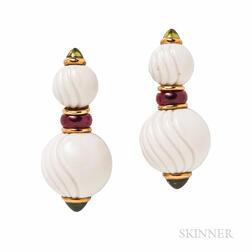 "Bulgari 18kt Gold, Ceramic, Peridot, and Pink Tourmaline ""Chandra"" Earrings"