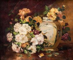 Eugène Henri Cauchois (French, 1850-1911)      Floral Still Life with Blue Delft Vase