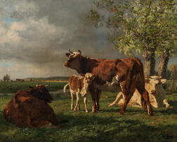 Adolphe Charles Marais (French, 1856-1940)      Cows and Calf in a Field in Late Afternoon Sun