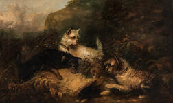 Attributed to George (Smith) Armfield (British, 1808-1893)      Three Terriers in a Landscape