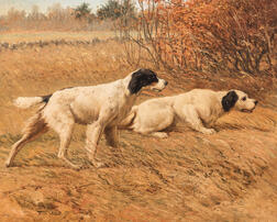 Frederick Mortimer Lamb (American, 1861-1936)      Two Setters Pointing in an Autumn Field
