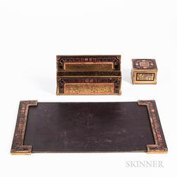 Tiffany Furnaces Three-piece Desk Set