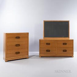 Paul Frankl-style Chest of Drawers, Low Chest, and Mirror