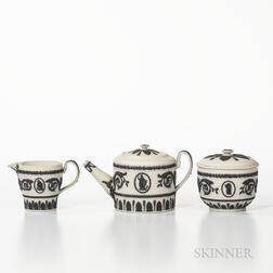 Three-piece Wedgwood Solid White Jasper Tea Set