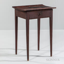 Red/brown-painted One-drawer Stand
