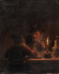 Dutch School, 17th Century Style      Two Figures at a Game Board and Smoking by Candlelight
