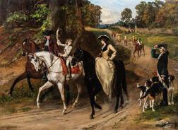 Samuel Edmund Waller (British, 1850-1903)      A Gallant Salute During an Afternoon Ride