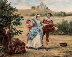 Georges Jules Victor Clairin (French, 1843-1919)      Colin-Maillard   (Blind Man's Bluff)