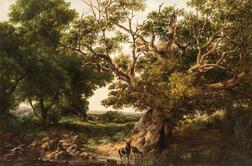 Edward Orlando Bowley (British, active 1840-1874)      Summer Landscape with Grazing Deer
