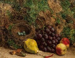 William Hughes (British, 1842-1901)      Still Life with Fruit and Bird's Nest