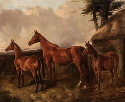 John Arnold Alfred Wheeler (British, 1821-1903)      Mare and Two Foals