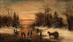 William Charles Anthony Frerichs (American, 1829-1905)      Skaters on a River at Sunset