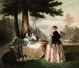Charles Louis Waelput (Active in Finland, 19th/20th Century)      Ladies in Conversation in a Manor House Garden