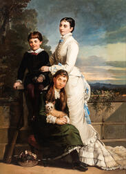 Thomas Jones Barker (British, 1815-1882)      Family Group: Mother, Two Children, and a Terrier