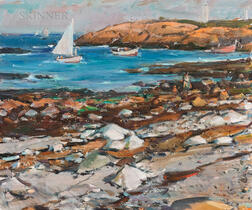 Carl William Peters (American, 1897 or 1898-1980)      Rocky Coast with Sailboats and Beachcombers