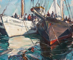 Carl William Peters (American, 1897 or 1898-1980)      Two Fishing Boats in Port