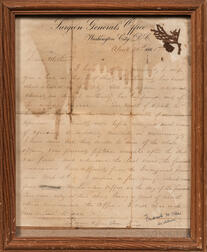 President Abraham Lincoln Funeral Letter with Sprig of Funeral Wreath, 21 April 1865.