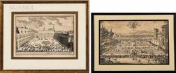European School, 17th/18th Century      Two Framed Engravings: Garden View of Nancy