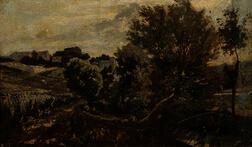 School of Charles François Daubigny (French, 1817-1878)      Summer Landscape with a Boy Fishing