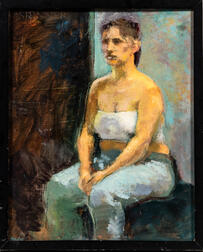 American School, 20th Century      Woman Seated in an Abstract Interior.