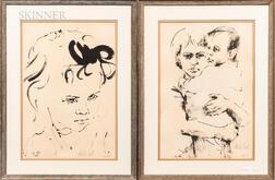 Moshe Gat (Israeli, b. 1935)      Four Framed Lithographs: Sailor, Woman and Child, Girl in Profile, Girl's Head.