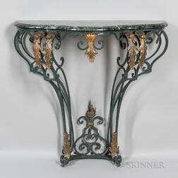 Rococo Revival Painted Cast Iron and Green Marble Console Table