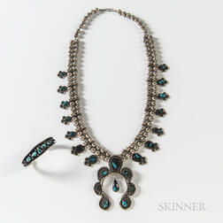 Navajo Silver and Turquoise Squash Blossom Necklace and Bracelet