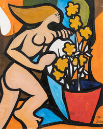 Roland Dorcély (Haitian, 1930-2017)      Nude with Potted Flowers