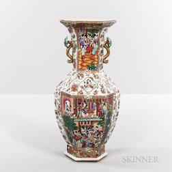 Large Rose Mandarin Export Porcelain Vase