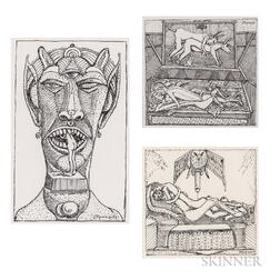 Louis Monza (California/New York/Italy, 1897-1984)      Three Works: Inaction ;  Untitled (Erotic Scene)