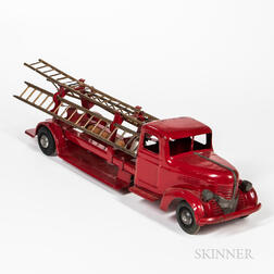 Turner Red-painted Hook and Ladder Toy Firetruck