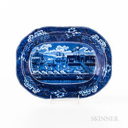 """Staffordshire Historical Blue Transfer-decorated """"Landing of General Lafayette at Castle Garden, New York, August, 1824"""" Vegetable Bowl"""