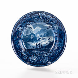 """Staffordshire Historical Blue Transfer-decorated """"View of the Aqueduct Bridge at Little Falls"""" Soup Plate"""
