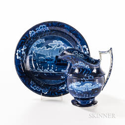 """Staffordshire Historical Blue Transfer-decorated """"Landing of Gen. Lafayette"""" Pitcher and Bowl"""