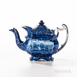 """Staffordshire Historical Blue Transfer-decorated """"Commodore MacDonough's Victory"""" Teapot"""