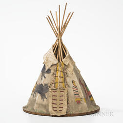 Central Plains Pictorial Miniature Wood and Hide Tipi