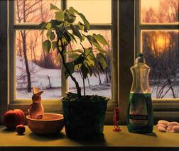 Scott Prior (American, b. 1949)      Window Still Life in Winter