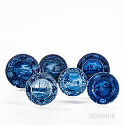 Six Staffordshire Historical Blue Transfer-decorated Small Plates