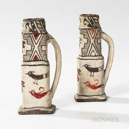 Two Southwest Polychrome Pottery Candlesticks