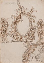 Continental School, 17th Century, Allegory of Time: Sketch of Putti, One Presenting an Hourglass, Two Holding up a Mirror, Two Weeping