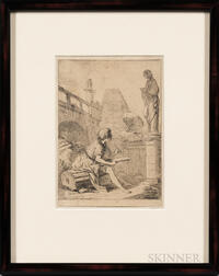 Charles-François Hutin (French, 1715-1776)      Le Dessinateur   (Young Artist Sketching Amidst Roman Ruins)