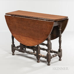 William and Mary Walnut and Maple Gate-leg Table with Falling Leaves