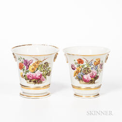 Pair of Derby Porcelain Cache Pots on Stands