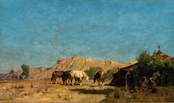 Attributed to Albert Pasini (Italian, 1826-1899)      The Encampment