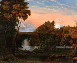School of Thomas Chambers (New York, 1808-1866/9)      Monument Above a River