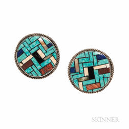 Angie Reano Owens Silver and Turquoise Inlay Earclips