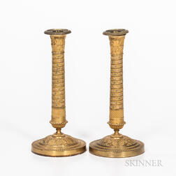 Pair of Gilt-brass Candlesticks